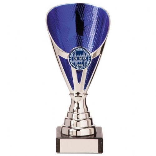 Rising Stars Premium Plastic Trophy Silver & Blue 170mm